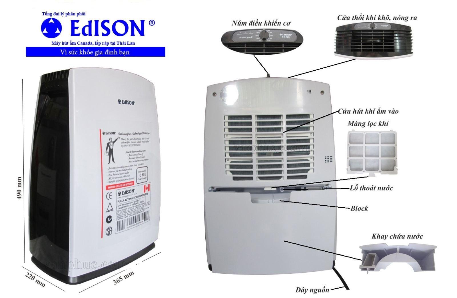 Máy hút ẩm Edison ED-16BE (16lít/ngày)